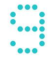 digital number 9 nine display board round dot vector image