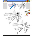 drawing and coloring activity with dragonfly vector image