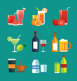 drinks and beverages flat design icon set vector image vector image