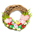 easter braided wreath twigs with eggs and vector image