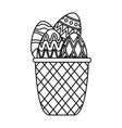 eggs painted in basket happy easter vector image