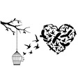 flying birds heart vector image vector image