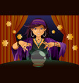 fortune teller reading crystal ball vector image