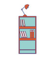 full color education bookcase with books and desk vector image vector image