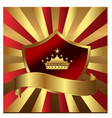 gold shield emblem with king crown vector image