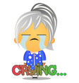 grandma crying on white background vector image
