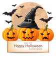 halloween background with pumpkins and bats vector image