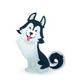 happy husky puppy cartoon dog character design vector image