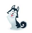happy husky puppy cartoon dog character design vector image vector image