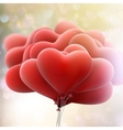 Hearts balloons on bokeh background EPS 10 vector image