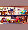 loft room and bedroom interior vector image vector image