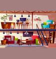 loft room and bedroom interior vector image vector image