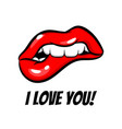 love you red woman lips in pop art style vector image vector image