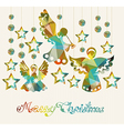 Merry Christmas card with Angels vector image vector image