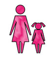 mother with daughter silhouette isolated icon vector image vector image