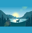 mountain landscape with deer in a forest and lake vector image vector image
