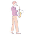 musician playing saxophone jazz music concert vector image