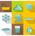 natural water icon set flat style vector image vector image