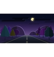 Night nature landscape road mountains forest vector image