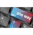 one way button on computer keyboard pc key vector image