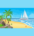 paradise beach of the sea with yachts vector image vector image