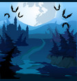 path through enchanted forest at night vector image