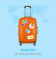 realistic detailed 3d bag for traveling card vector image vector image