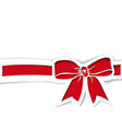 red bow and ribbon in paper cutout style vector image vector image