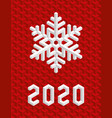 red christmas card 2020 with isometric 3d vector image