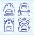 school backpacks set of sketched and ink backpack vector image vector image