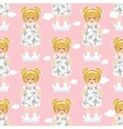 seamless pattern Kawaii baby girl with vector image