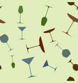 seamless pattern of drink and cocktail glasses vector image vector image