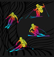 set abstract skiing people on black vector image
