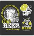 set craft beer and vikings logo - vector image