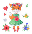 set fox flowers hand drawing vector image vector image