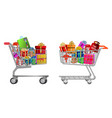 set isolated shopping trolley full gift box vector image