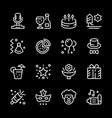 set line icons of party vector image vector image