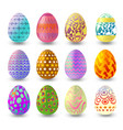 set of easter eggs with differnt pattern isolated vector image vector image