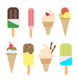 set of ice cream in a waffle cone and a popsicle vector image