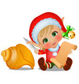 set of santas helper with seashell isolated on vector image vector image