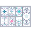 set of seven cards Ethnic ornate pattern vector image