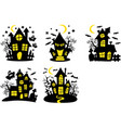 set shary houses halloween background vector image