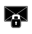 silhouette letter text message with padlock vector image vector image