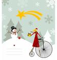 snowman and star bethlehem card vector image