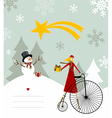 Snowman and star of Bethlehem card vector image vector image