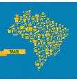Soccer icons Brazil map vector image vector image