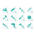 stylized different kind of tools icons vector image vector image