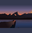 sunrise landscape river mountains vector image
