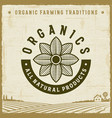 vintage organics all natural products label vector image vector image