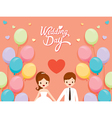 Wedding Invitation Card Bride Groom And Balloons vector image